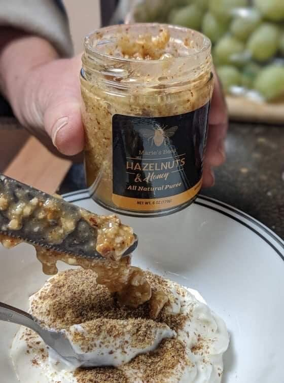 Holmquist Hazelnuts fresh ground with raw local honey from Pappetti's hives in Bellingham