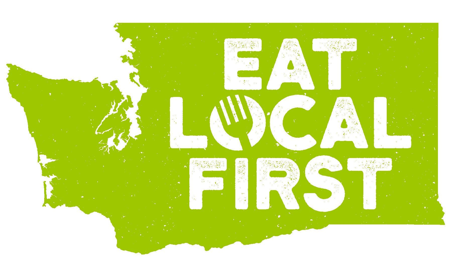 Washington State graphic with the words Eat Local First - Eat Local First WA logo