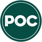 Dark green circle with acronym POC to denote People of Color
