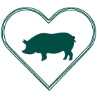 Outline of a heart with silhouette of a pig inside; teal green