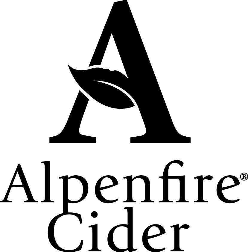 logo for Alpenfire Cider black and white capital letter A with a leaf design through the apex